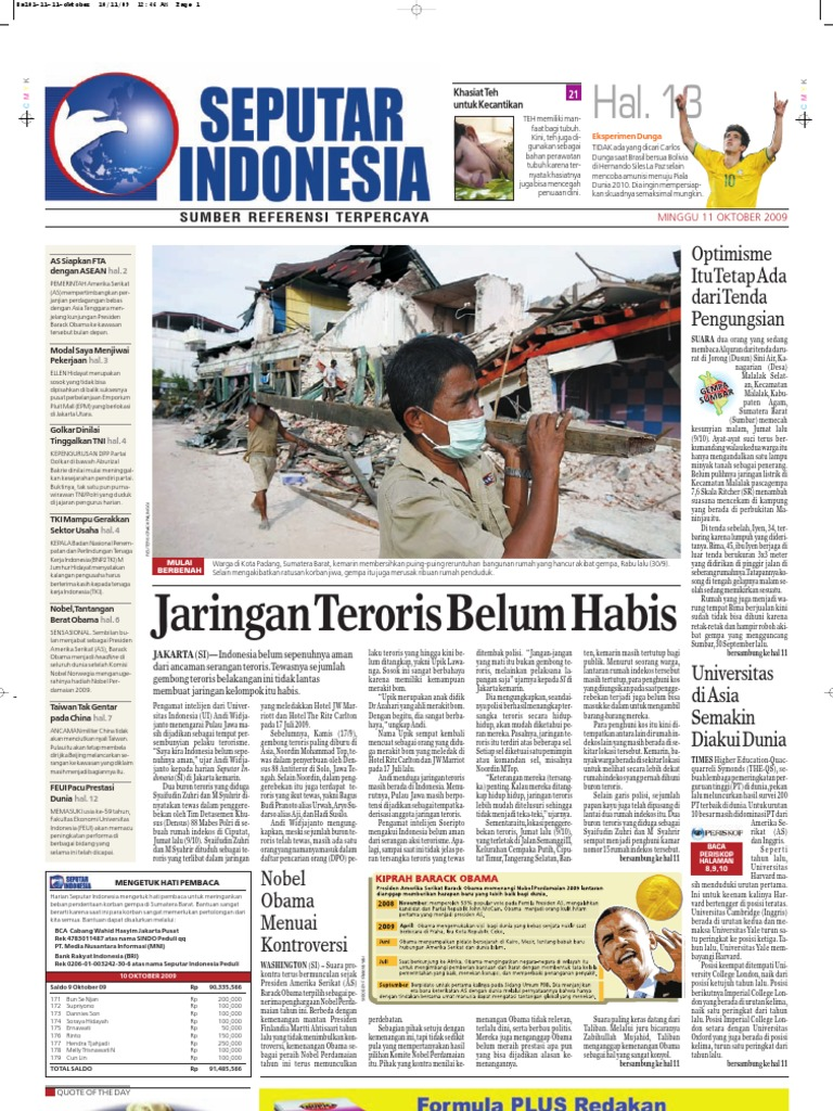 Digital Harian Seputar Indonesia Edisi 11 Oktober 2009 Jam Tangan Qampampq A170 Original Bergaransi