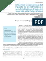 Valoracion Tecnica y Economica Del Impacto de Penetracion de Generacion Distribuida a Traves de Energia Solar Fotovoltaica