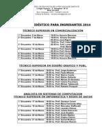 horarios PROPEDEUTICO CURSO 2014