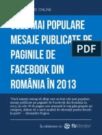 Cele mai populare mesaje pe paginile de Facebook din România în 2013