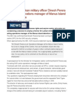 Former Sri Lankan Military Officer Dinesh Perera Now Acting Operations Manager of Manus Island Detention Centre