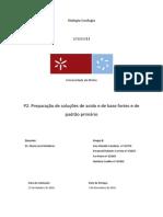 Relatório P2. Preparação de soluções de ácido e de base fortes e de padrão primário