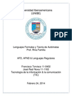 AFD, AFND, & Lenguajes Regulares - Francisco Torvisco 11-0402 & Jose Raul Nova 11-1162