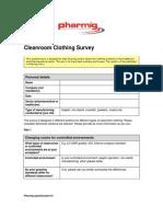 Pharmig Cleanroom Clothing Survey - 2014
