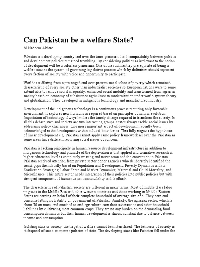 can pakistan be a welfare state? | agriculture | pakistan