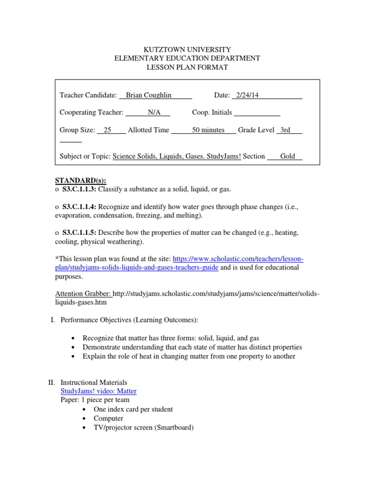 Workbooks solid liquid and gas worksheets : lesson plan solids liquids gases   Liquids   Lesson Plan