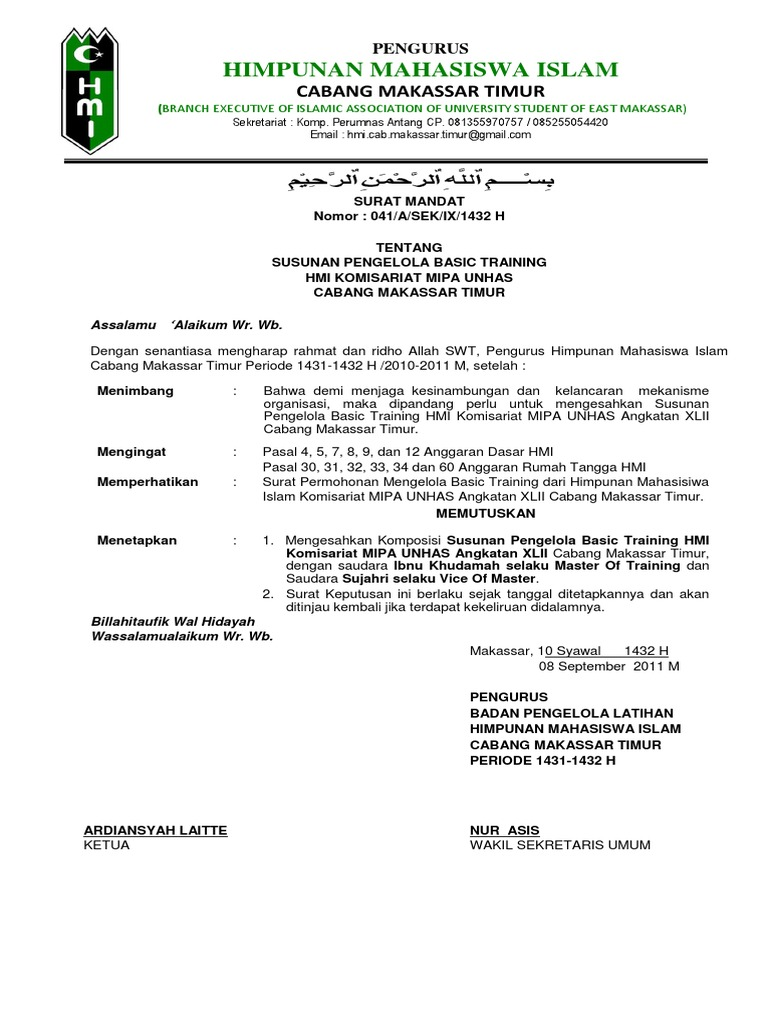 Surat Mandat Bastra Mipa 2