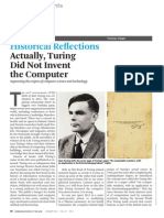 Actually Turing Did Not Invent the Computer