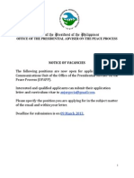 Notice of Vacancies as of February 25, 2014