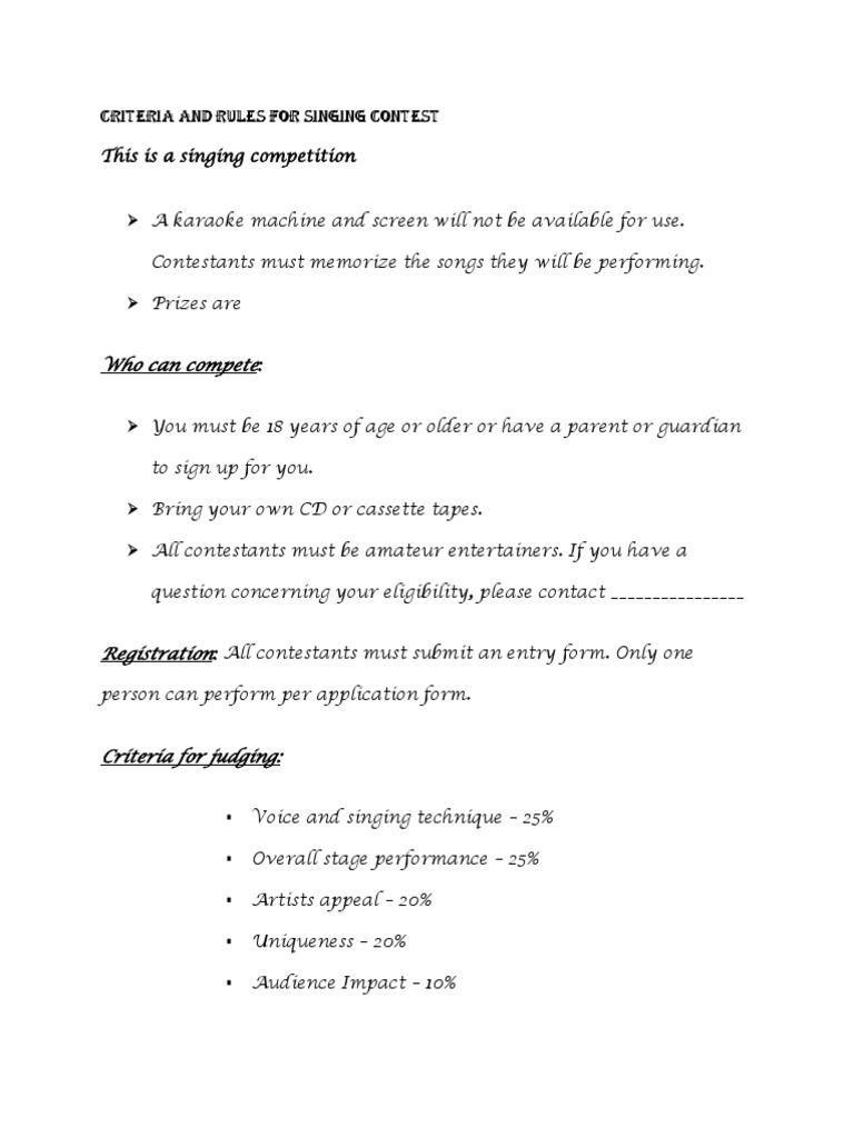 Criteria for judging for singing contest dances singing spiritdancerdesigns Images