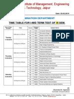 Exam Time Table I MTT VI Sem March 2014