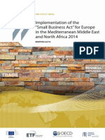 Implementation of the Small Business Act for Europe in the Mediterranean Middle East and North Africa 2014