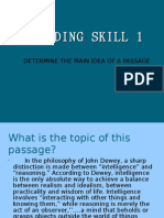 English reading skill, determine the main idea of a passage
