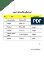 Jadwal Praktikum Prinsip Stratigrafi