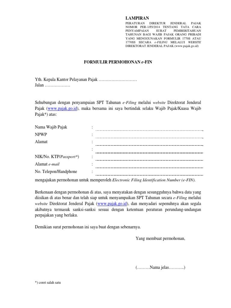 Formulir Pendaftaran Efin Pdf