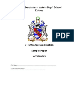 7 Plus Maths sample paper