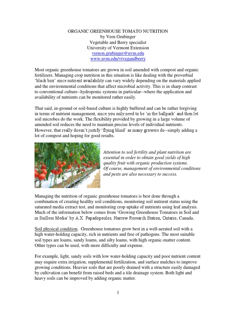 Organic Greenhouse Tomato Nutrition | Fertilizer | Soil