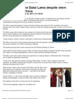 Canadian Prime Minister Hosts the Dalai Lama