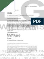 LG Williams 2009 Letter to Mirek Topolanek, President of the European Council