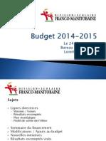 DSFM Ébauche budget 2014-2015