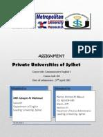 Private University in Sylhet, Bangladesh