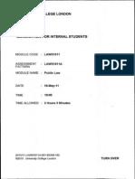 Public Law 2011 Exam LAWS 1011A