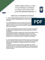 ORDEN DE LOS NÚMEROS NATURALES