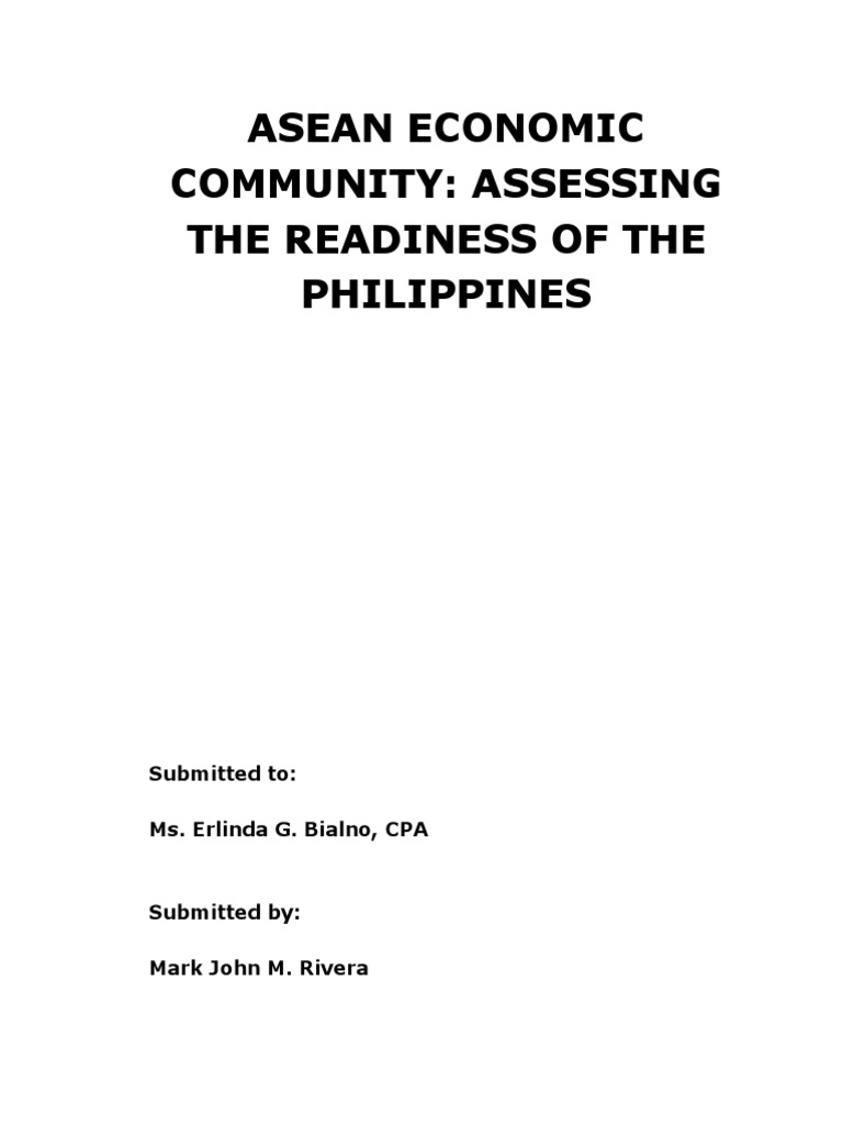 ASEAN Economic Community: Assessing the Readiness of the