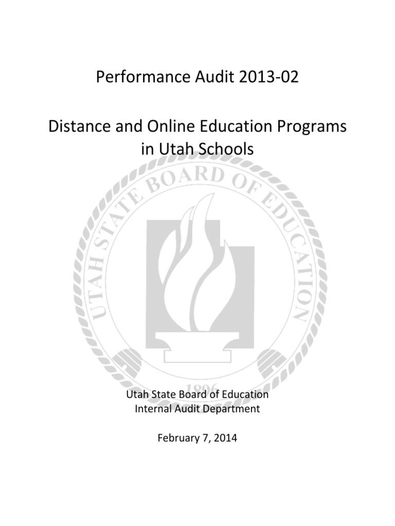 Utah Department Of Education >> Audit Distance And Online Education In Utah Schools Curriculum