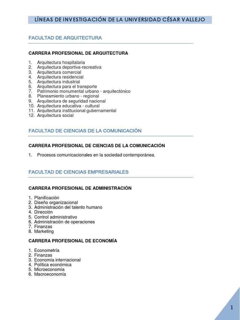 L Neas De Investigaci N De La Universidad C Sar Vallejo 1