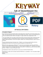 The Keyway - Weekly newsletter for the Rotary Club of Queanbeyan - 26 Feb 2014 Edition