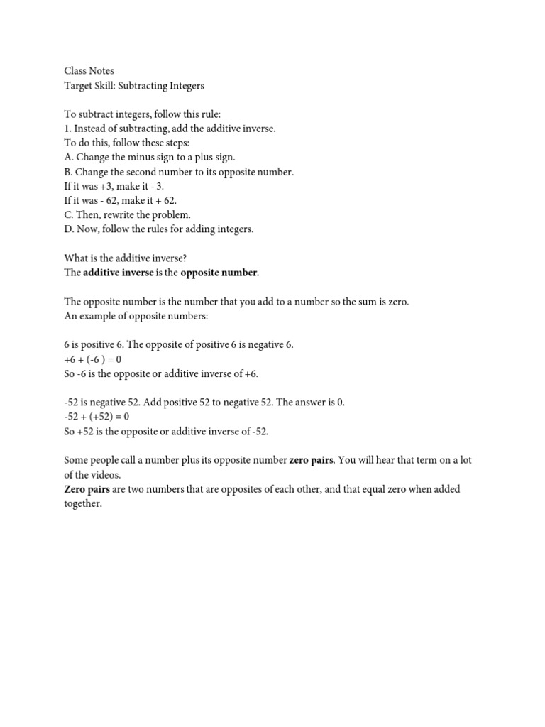 Class Notes Subtracting Integers Subtraction Integer