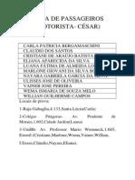 Lista de Passageiros Cesar 1