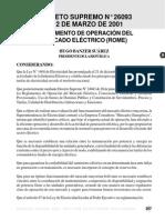 9 - DS 26093 Reglamento de Operacion Del Mercado Electrico