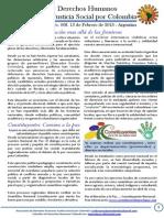 Boletin DDHH No 8 - Tejiendo Justicia Social por Colombia. Febrero 15 de 2014