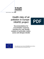 Health Risks of Air Pollution in Europe - HRAPIE Project WHO 2013