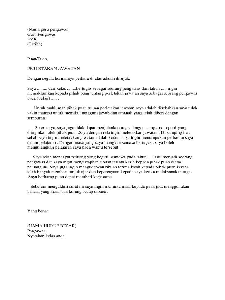 Surat Rasmi Letak Jawatan Pengawas Sekolah - Rasmi G