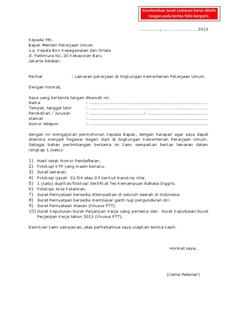 Kertas Folio Contoh Surat Lamaran Kerja Tulis Tangan 2019