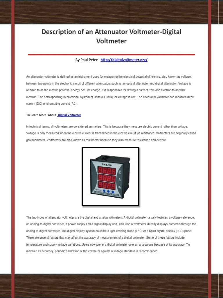 Digital Voltmeter Voltage Electronics Circuit