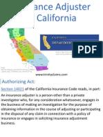Insurance Adjuster In California