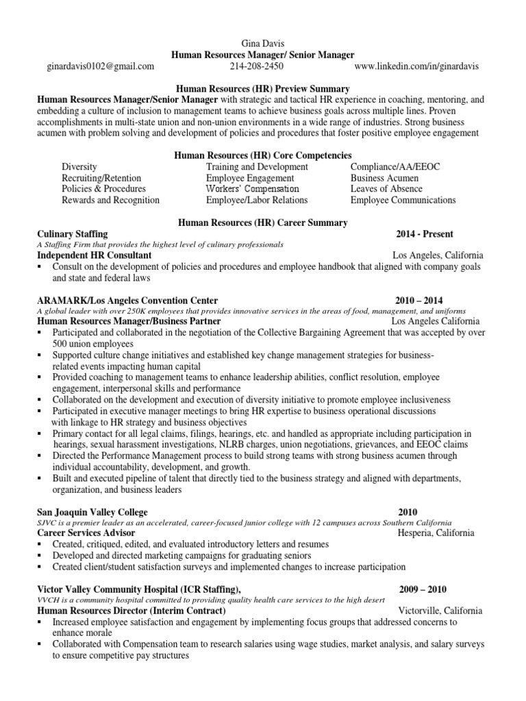 senior human resources manager in los angeles ca resume