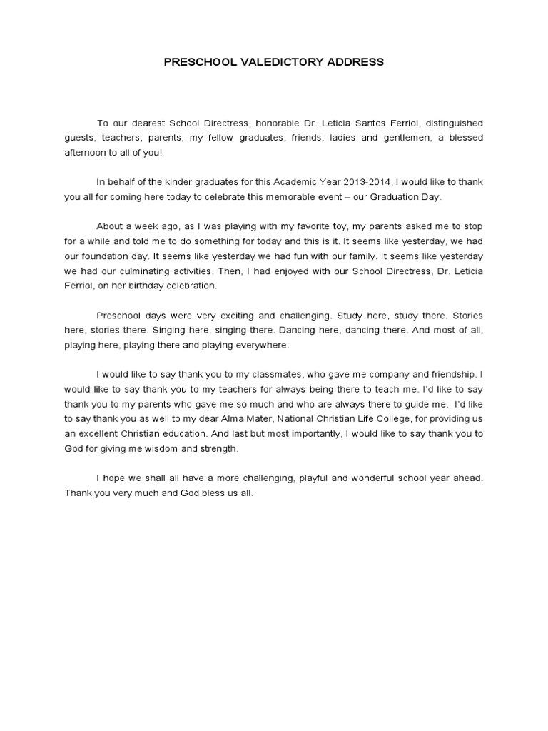 Sample Valedictorian Speech. Preschool Valedictory Address