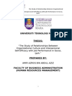 The Study of Relationships Between Organizational Culture and Interpersonal     Self-Efficacy with Job Performance in Socso, Ipoh