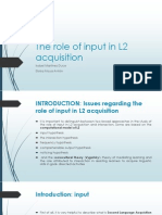 The Role of Input in L2 Acquisition 2