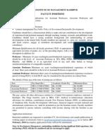 IIM Kashipur - Faculty Positions