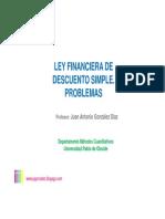 Ley Financiera de Descuento Simple, Problemas