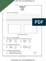 CBSE Class 6 Water Worksheet