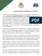 PRESENTACION DEL PROGRAMA DE PREPARACIÓN INMEDIATA AL MATRIMONIO