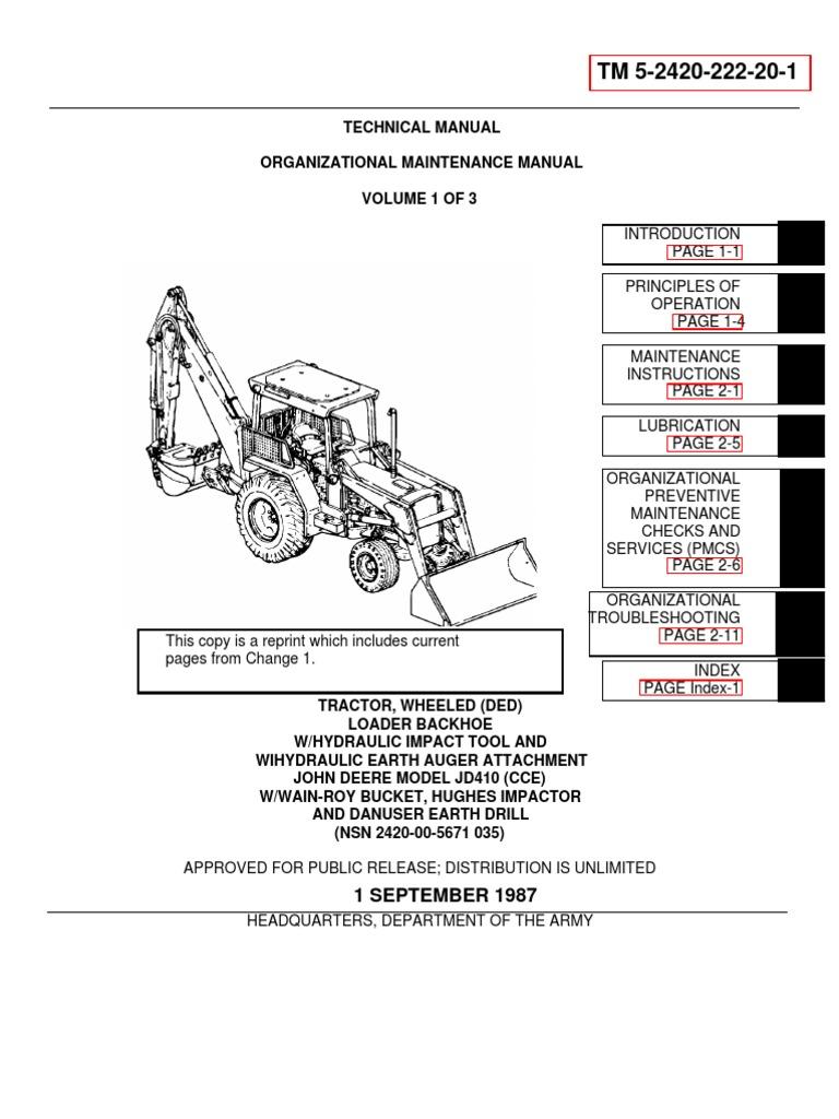 TM 5-2420-222-20-1 JOHN DEERE JD 410 BACKHOE LOADER