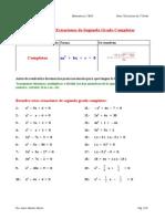 Ejercicios de Ecuaciones de 2º Grado Completas 2º ESO
